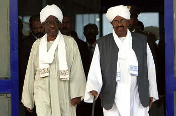 Republic of Sudan President Omar Hassan al-Bashir with First Vice-President Ali Osman Taha. The government announced in November 2012 that there were arrests surrounding a coup plot. by Pan-African News Wire File Photos
