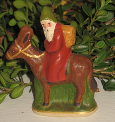 Chalkware Santa on Donkey