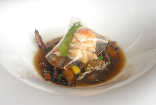 Taraba crab meat, wild mushrooms fricasse with autumn fruits, bouillon of sauternes
