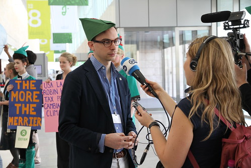Oxfam's Tim Gore talks to journalists about the Robin Hood Tax