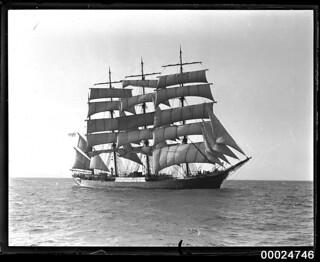 Four-masted barque PAMIR under sail at sea, 1934-1949