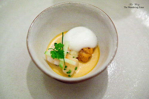 Sea urchin custard with baby squid, bay scallop, and apple