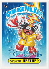 Stormy Heather Garbage Pail Kid getting hit by lightning