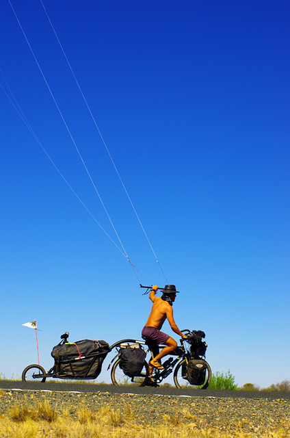 kitebiking with the trailer