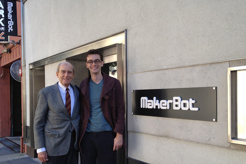 My Grandfather and I at the Makerbot store in NYC