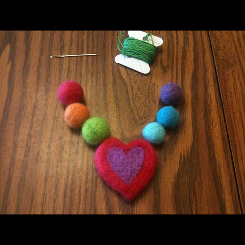 A necklace in the making (for Josie) - I needle- and wet-felted everything.