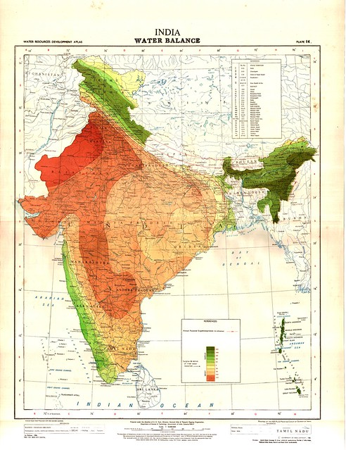 Water balance map of India. Green indicates surplus water while red indicates deficit. The darker the shade, the more the deficit or surplus. Yellow represents neither deficit nor surplus.