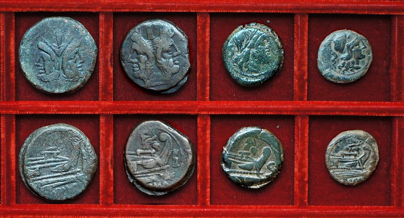 RRC 184 butterfly As, and butterfly and vine bronzes, Ahala collection, coins of the Roman Republic