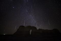 Meteors at Monument Rocks