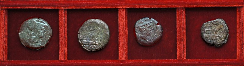 RRC 137 crescent bronzes, Ahala collection, coins of the Roman Republic