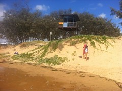 Kelly's Beach Bargara and Moneys Creek Lagoon at High Tide. Dunes eroding at high tide by Surf Club. Lagoon entrance spit almost submerged. Causeway only 30cm above high water