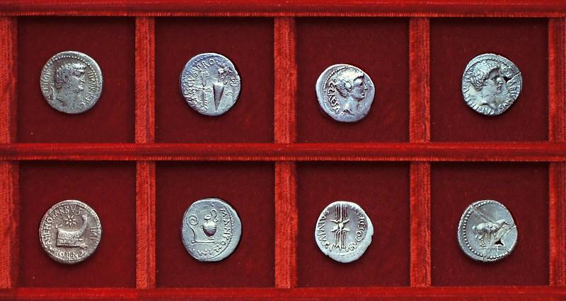 RRC 521 AHENOBARBVS Antony, RRC 522 M.ANTON L.PLANCVS Antony, RRC 523 C.CAESAR Q.SALVIVS Octavian, RRC 524 Q.LABIENVS Labienus, Ahala collection Roman Republic