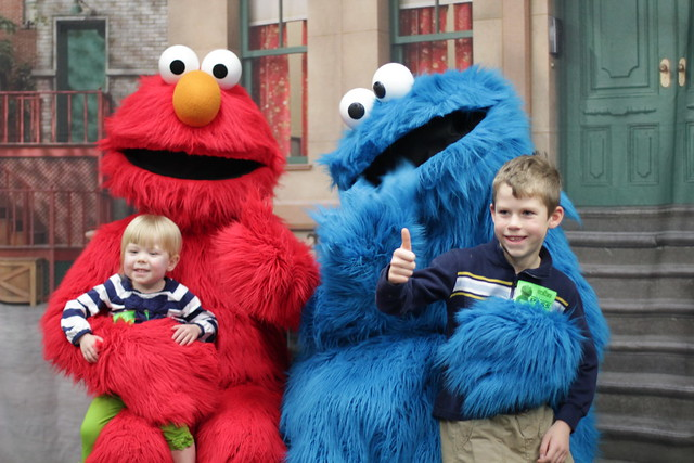 Elmo and Cookie with Lucy and Benjamin