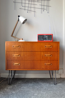 G Plan chest of drawers on steel hairpin legs