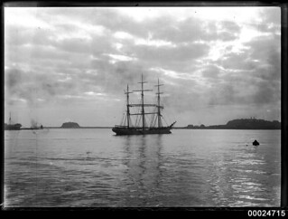 Three-masted barque at anchor in Newcastle, New South Wales