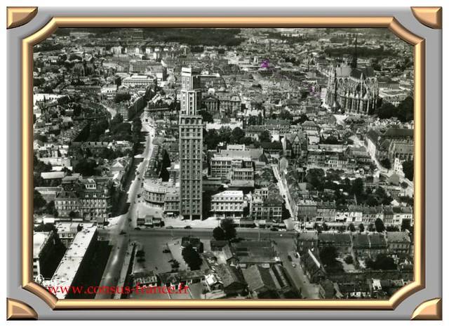 AMIENS (Somme) - Vue aérienne 31639 - La Tour Perret, la Rue de Noyon et la Cathédrale -70-150