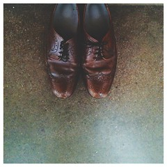 R almost left his wedding shoes. I'd have died if a certain puppy chewed 'em up. ##wingtips #menstyle