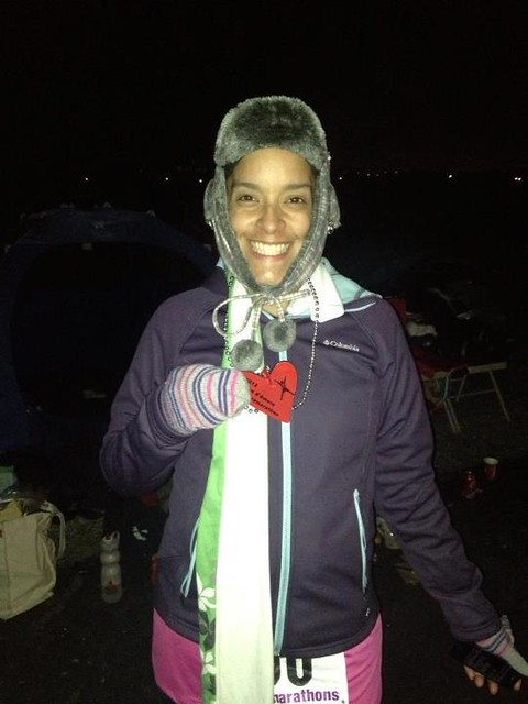 50 mile finisher! So happy to be done and that I get to go sit in a warm car. It was FREEZING after the sunset.