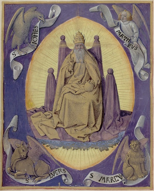 God the Father with symbols of the four Evangelists in the corners 13v