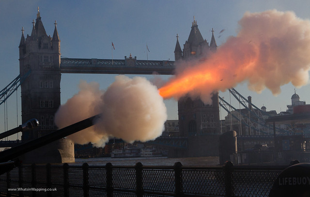 62 round gun salute at the Tower of London to mark Prince Charles birthday on 14 November 2012