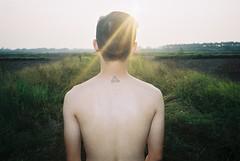 [フリー画像素材] 人物, 男性, 男性 - アジア, 人物 - 後ろ姿, 人物 - 草原 ID:201211180400