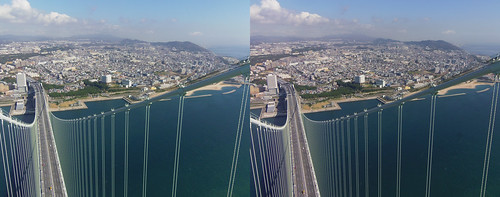 View from the top of Akashi-Kaikyo Bridge toward Kobe (Honshu Island), stereo parallel view