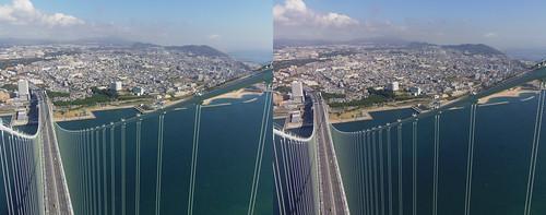 View from the top of Akashi-Kaikyo Bridge toward Kobe (Honshu Island), stereo parallel view