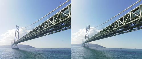 Akashi-Kaikyo Bridge, stereo parallel view