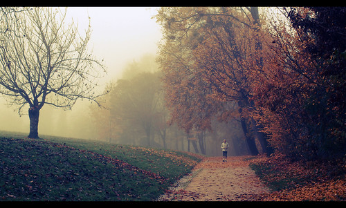 foggy jogging