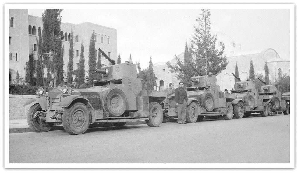 British Army 11th Hussars - Battery of armoured cars near Jaffa Gate in Jerusalem, Palestine - circa 1938