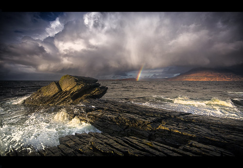 light seascape skye clouds scotland highlands rocks dramatic scottish cuillins