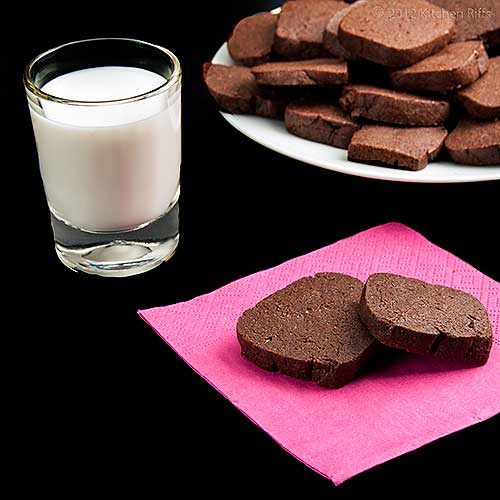 Chocolate Pepper Cookies with Milk and Napkin