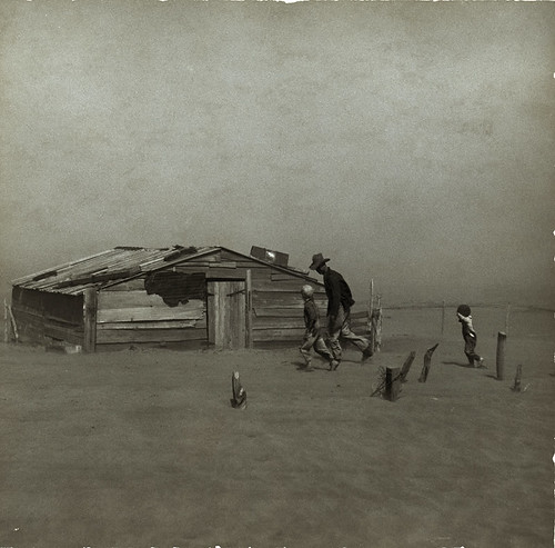 Image of family in dust storm from Library of Congress
