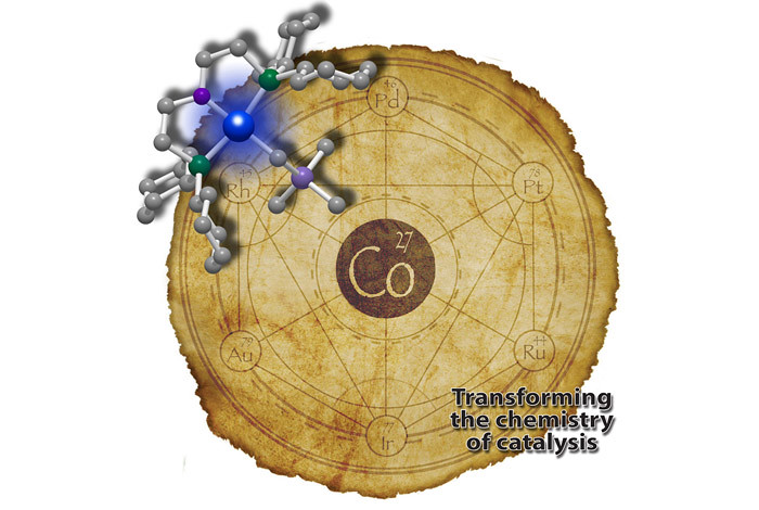 The artwork depicts the substitution of cobalt for precious metals in catalysis as a variation on the ancient alchemical theme of transmuting base metals into precious ones.