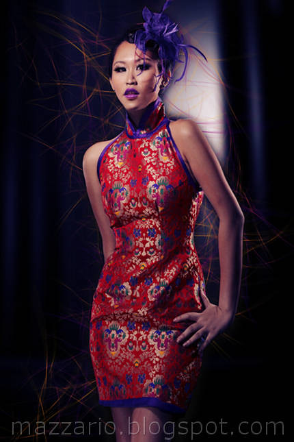 red brocade mini cheongsam