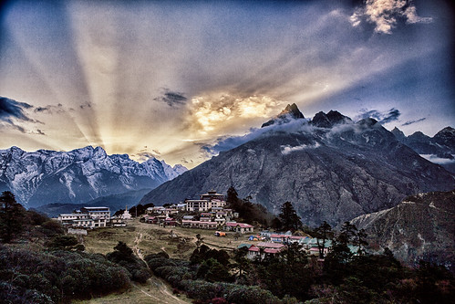 God beams at sunset Tengboche monastery
