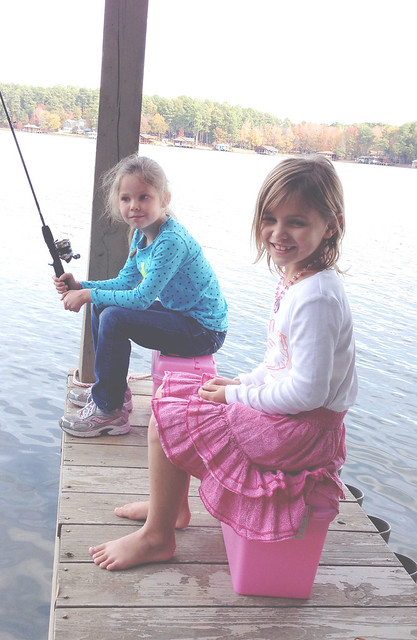 avery and halie fishing