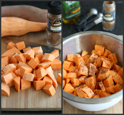 ... sweet potatoes, olive oil, salt and five-spice powder. Toss to coat