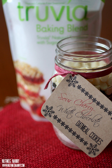 This sour cherry white chocolate oatmeal mason jar cookie is the perfect Christmas gift. Made with Truvia or regular sugar for any dietary needs.