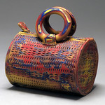 Lynn Hull - Chromatic Barrel Purse; Clay; 2012; Photograph by Shelley Schreiber
