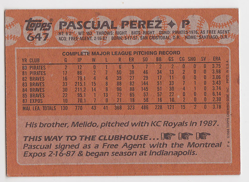 Pascual Perez Back