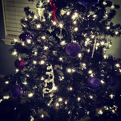Finished my #christmas tree too. I love my little black tree with purple and silver!