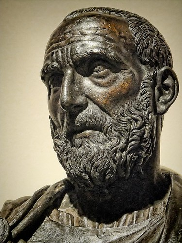 Another closeup of a Bust of Lucius Junius Brutus one of the first co-consuls of the Roman Republic by Ludovico Lombardo 1550 CE Bronze by mharrsch