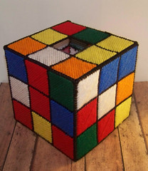 needlepoint Rubik's Cube tissue-box cover