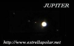 Júpiter y sus cuatro satélites mayores, Io, Europa, Ganímides y Calixto.