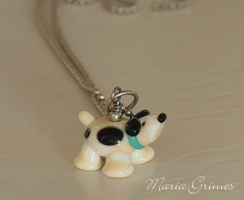 Lampwork Puppy Dog Necklace