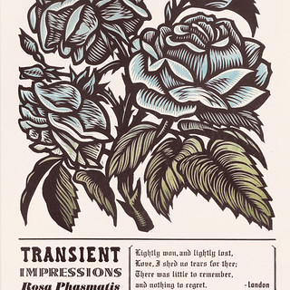 Floral woodcut / letterpress poster print