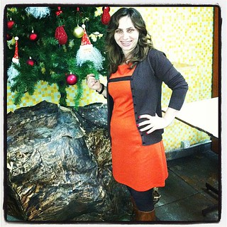 #dressember | Day 9 #dressember2012 #dress #christmas #tree #decoration #cafeteria #university #style #brown #orange