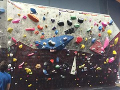 Top of v1 yellows on either side. Multiple attempts with no success at v2 yellow in middle #bouldering