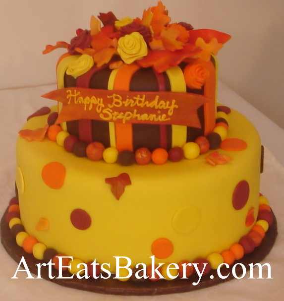 Cake Designs Jackie Brown Croydon : Custom creative unique orange, yellow and brown fondant ...